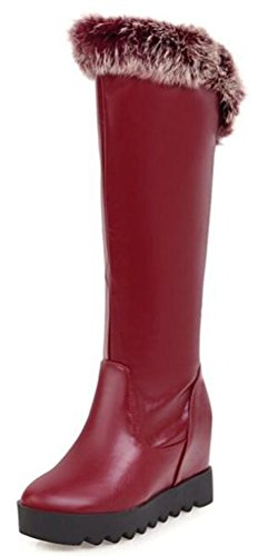 IDIFU Womens Comfy High Wedge Elevator Heels Platform Pull On Riding Knee High Boots Red J1hqh