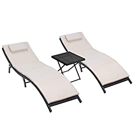 Homall 3 Pieces Outdoor Lounge Chair Patio Chaise ...