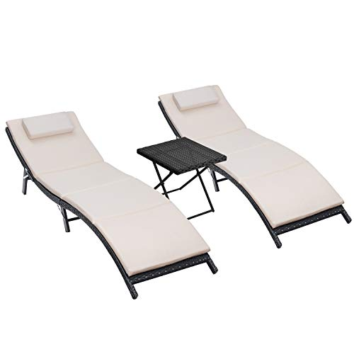 Homall 3 Pieces Outdoor Lounge Chair Patio Chaise Lounge Sets PE Rattan Lounge Chair with Folding Table and Beige Cushion (Brown Lounge Outdoor Chairs)