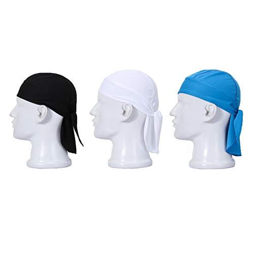 - UHEREBUY Sweat-Wicking Adjustable Bandana Skull Cap/Dew Do Rag/Helmet Liner for Motorcycle Cycling Beanie Caps Head Wrap Sweatband Womens Headband Headwear (BL+WH+BU)
