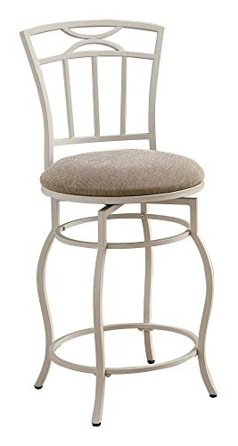 "24"" Metal Counter Stool with Upholstered Seat Beige and Eggshell"