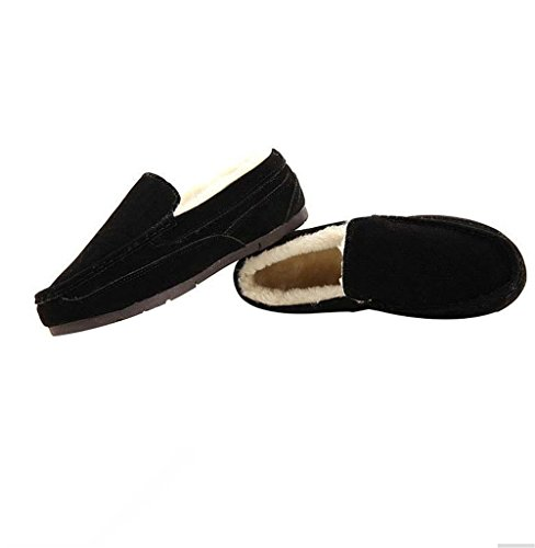 Shoes Soft Flats Women Gommini Women Suede Inside Loafers Shoes Warm Women Flat Quliuwuda Womens Fur Leather Black Shoes FPInq4FwO