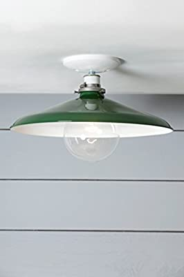 14in Green Metal Shade Ceiling Light - Barn Light