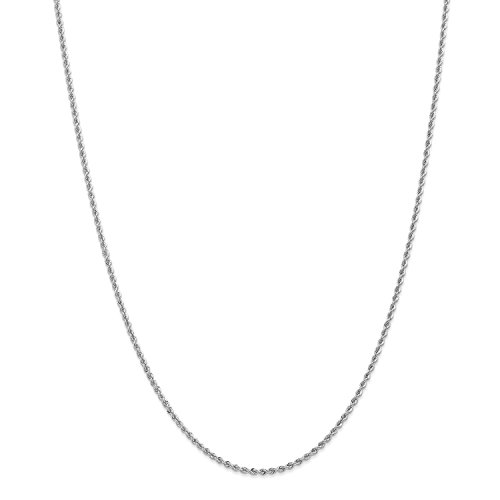 Roy Rose Jewelry 14K White Gold 2mm Handmade Regular Rope Chain Necklace ~ Length 16'' inches - 16' Regular Rope Chain