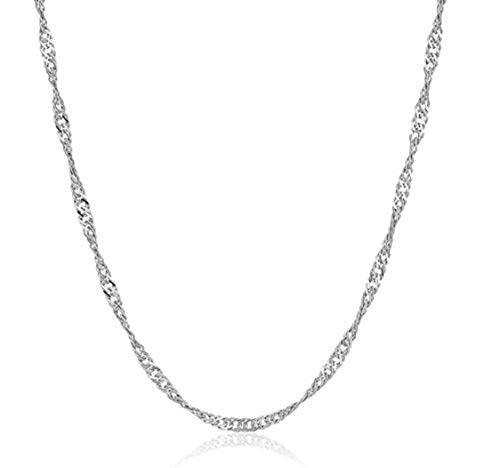 2pcs Top Quality 18 inch Sterling Silver Singapore Necklace Chain w/Clasp for Jewelry Making (1.2mm width, Strong) SS127