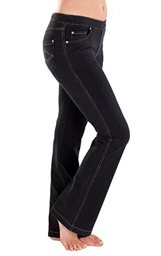 PajamaJeans Women's Tall Bootcut Stretch Knit Denim Jeans, Black, Large / 12-14 ()