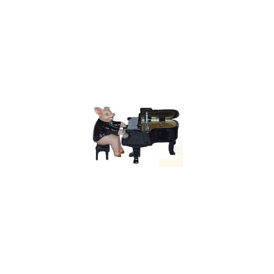 PIG in TUXEDO sits on BENCH plays GRAND PIANO MINIATURE Figurine Porcelain KLIMA L655A