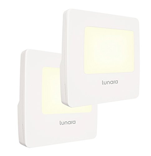 Lunara Plug-In LED Night Light, WARM White Nightlights with Dusk to Dawn Sensor for Hallways, Bathrooms, Kitchen, Stairs, Energy Efficient and Compact, UL Approved, 2-Pack