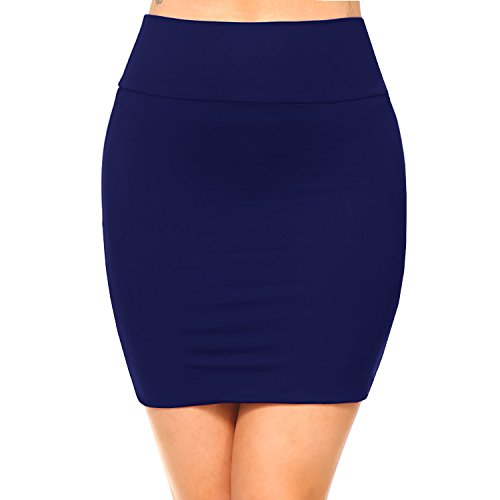 Fashionazzle Women's Casual Stretchy Bodycon Pencil Mini Skirt (Medium, KS06-Navy/Spandex)