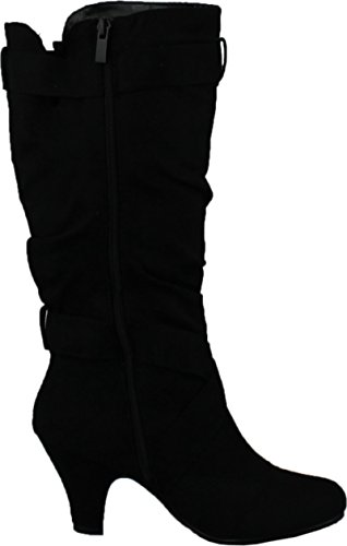 Image of CC Maggie-38 Women Knee High Kitty Heels Wide Shaft Boots