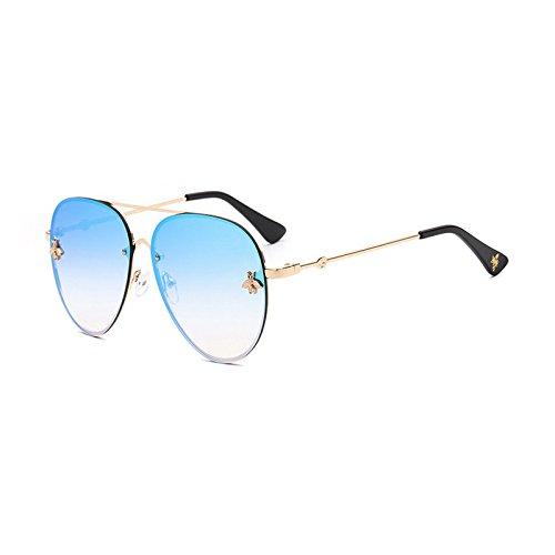 Nuevo Burenqi  Abeja Oval gafas de sol mujer Moda Hombre bastidor metálico  degradado del diseñador 1ebd12e8cf49