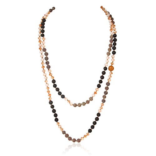 """Long Statement Necklace - Handmade Knotted Endless Beads Strand Versatile Lariat Multi Layer Infinity Wrap 60"""" Sparkly Crystal Rondelle/Semi Precious Natural (Natural Lava Stone Mix - Light Brown)"""