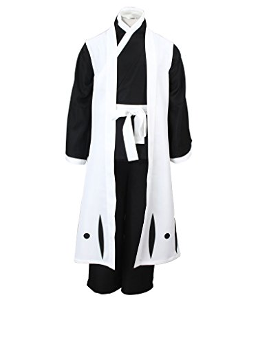 Mtxc Men's Bleach Cosplay Ichimaru Gin 4th Squad Three Captain Uniform Simplify Ver Size Large White