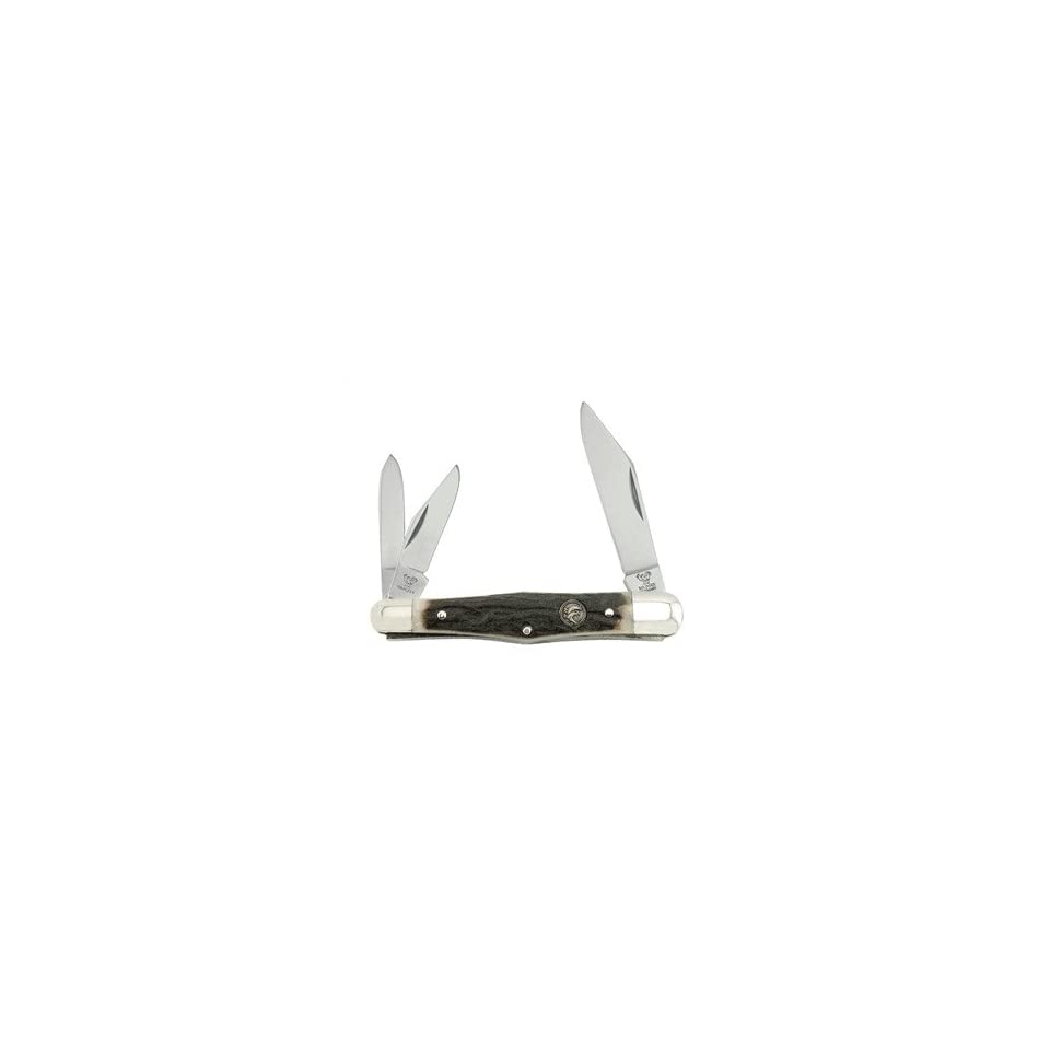 Hen & Rooster Pocket Knife 3 Blade Country Whittler Genuine Deer Stag 123 DS