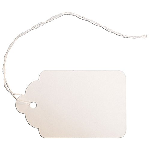 KC Store Fixtures 09406 #8 Merchandise Tag with String, 1-5/8' x 2-5/8', White (Pack of 1000)