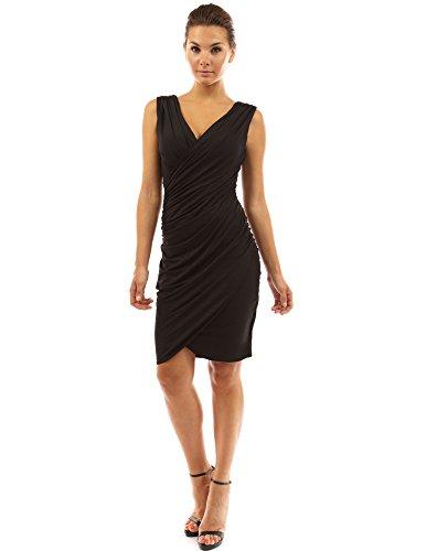PattyBoutik Women V Neck Faux Wrap Ruched Day Night Dress (Black Medium)