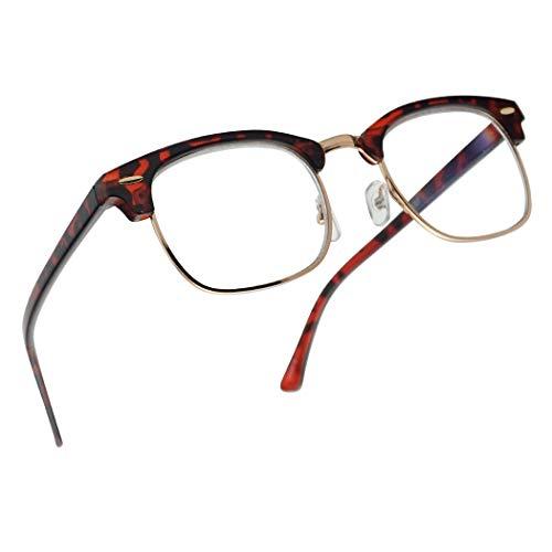 SunglassUP Multi Focus Advance Progressive 3 in 1 Reading Glasses Classic Half Frame Horn Rimmed Style (Tortoise Gold, ()