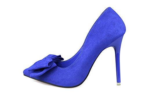 Aalardom Femmes Solides Talons Hauts À Bout Pointu Escarpins Pompes-chaussures Avec Bowknot Bleu-noeud