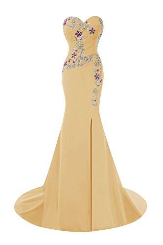 Bess Women's Split Beads Gold Side Mermaid Prom Bridal Dresses with rH6Uqr