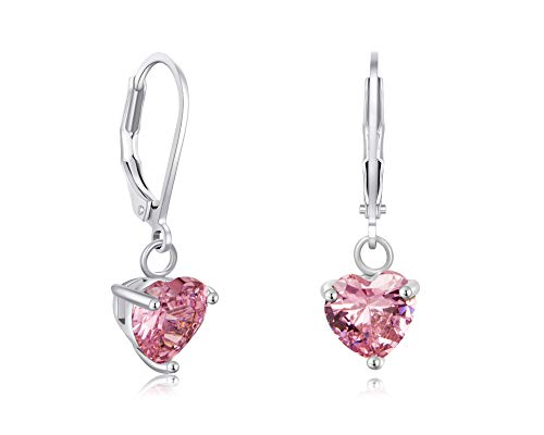 - Buyless Fashion Girls And Women Heart Stone Dangle Earrings Silver Jewelry - EDGHRTPNK
