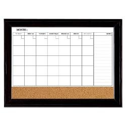 Quartet Magnetic Combination Calendar Board, Dry Erase & Cork, 23 x 35 Inches, 1-Month Calendar, Ebony Frame (79284)
