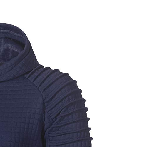 Beautyfine Men's Autumn Hoodie Hooded Sweatshirt Long Sleeve Plaid Top Fashion Tee Outwear Blouse (XXXXX-Large, Navy) by Beautyfine (Image #2)