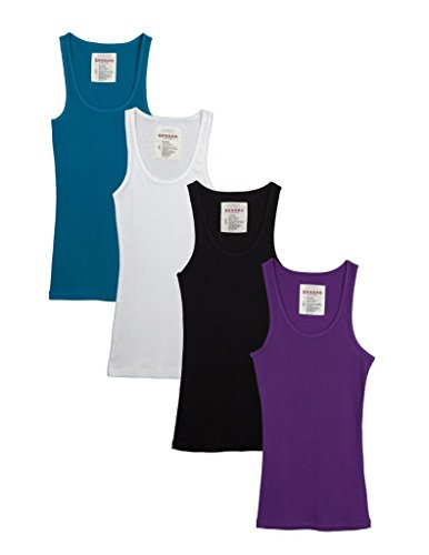 Zenana Outfitters 4 Pack Womens Basic Ribbed Tank Top BLACK/WHITE/PURPLE/JADE (Ladies Ribbed Tank)