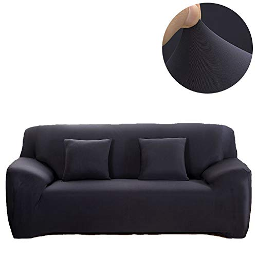 ANJUREN 1 Piece Sofa Couch Loveseat Chair Slipcover Cover Polyester Spandex Living Room Sofas Furniture Stretch Slip Covers Shield Protector (Sofa, Black)