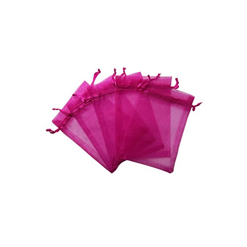 "RakrisaSupplies 100Pcs Hot Pink Organza Bags 4x6"" w/Drawstring 