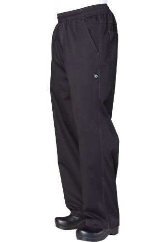Chef Works Men's Lightweight Baggy Chef Pant, Black, LARGE (Chef Style Pants)