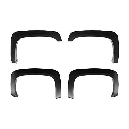 Premium Fender Flares for 2007-2013 Chevy Silverado 1500 2500HD 3500HD (NOT for Sierra; NOT for Short Bed) | Excl. 2007 Classic Models | Find-Textured Matte Black Paintable Factory Style 4pc ()