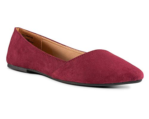 Picture of Twisted Womens Lindsay Slanted Front Almond Toe Flat - Lindsay 527S Burgundy, Size 8