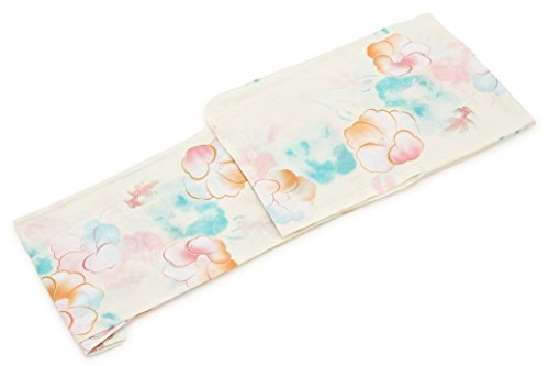 りんごパリティむしゃむしゃレディース浴衣 bonheur saisons (ボヌールセゾン) 白 クリームホワイト ピンク 椿 金魚 ラメ 綿 紅梅 仕立て上がり フリーサイズ
