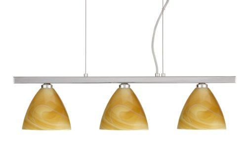 Besa Lighting 3LP-1779HN-PN 3X40W G9 Mia Pendant with Honey Glass, Polished Nickel Finish