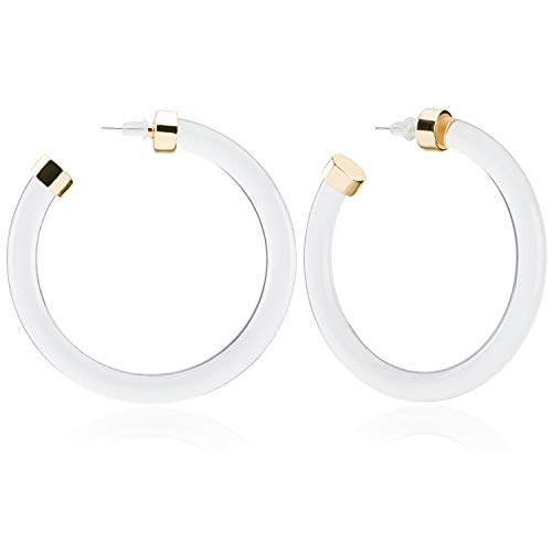 Enameljewelries Hoop Earrings Clear Lucite with Flecks Acrylic Tortoise Shell Hypoallergenic 925 Silver Resin Earrings for Women Ladies and Girls (C4#Lucite White) ()