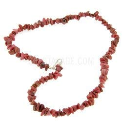 (CrystalAge Rhodonite Gemstone Chip Necklace with Clasp)