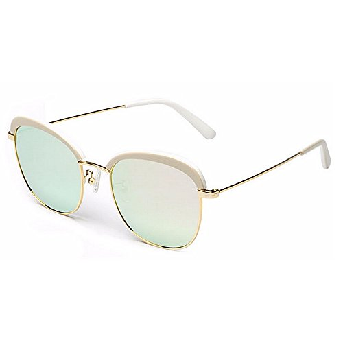 libre UV de marco al para Protección metal sol y Lente de Gafas TAC aire mujer fibra sol de Gafas color Brillante Color Playa polarizadas de Vacaciones Blanco de verano Blanco Acetato Conducción FqxYzfH