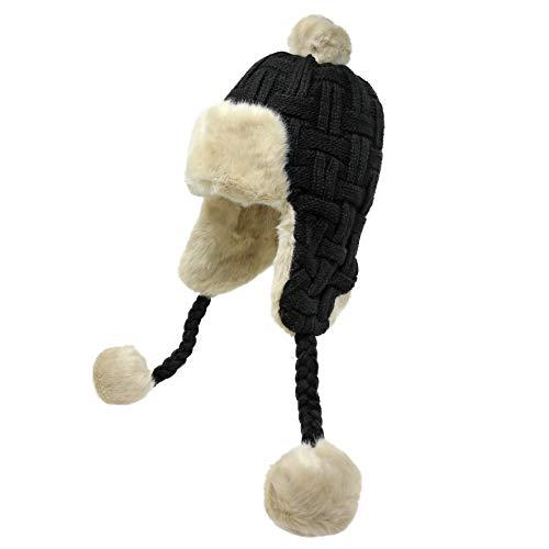 High Desert Gear Women's Knit Peruvian Beanie Hat Winter Warm Fuzzy Cap with Earflap Pom Pom Ski -
