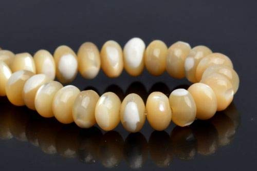 - 6x4mm Natural Yellow Trochidae Shell Grade Rondelle Loose Beads 7.5'' Crafting Key Chain Bracelet Necklace Jewelry Accessories Pendants