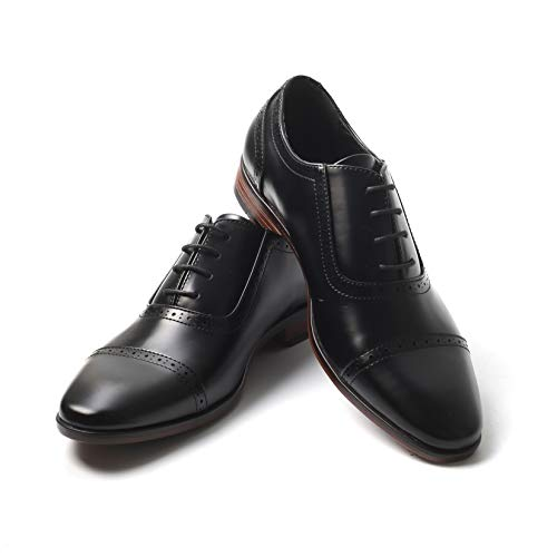 Mens Oxford Wingtip Lace Dress Shoes (11, Black Patent)