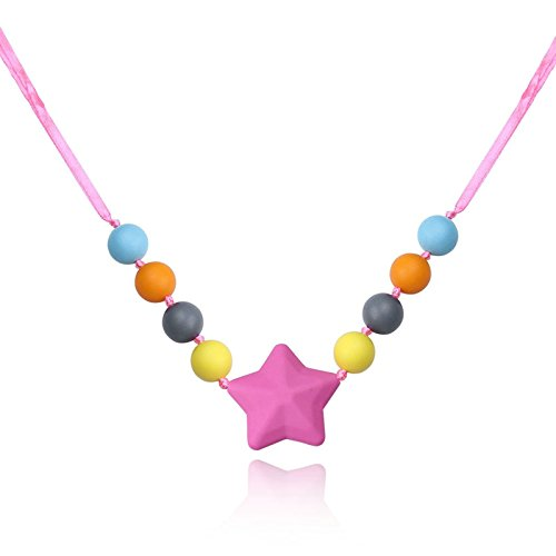 KnSam Silicone Teething Necklace for Women and Baby Silicone Star Color Chain Length: 80CM