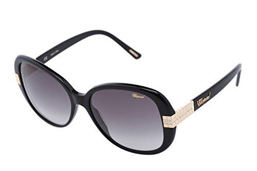 Chopard SCH 110S 700 Women Shiny Black Butterfly Oversized Designer Sunglasses by Chopard