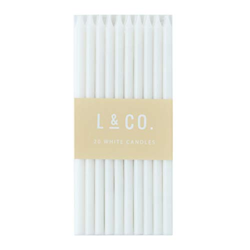 l&co 20 Count Tall Skinny White Birthday Cake Candles for Birthday Wedding Party Cakes Decorations