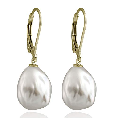 Splendid Pearls Lever-back Dangling Earrings 10-12mm White Baroque Freshwater Cultured Pearls (yellow-gold)
