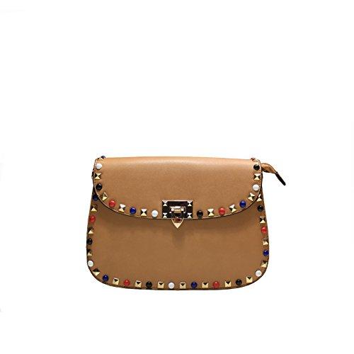 Bolso de mujer de piel sintética con tachuelas colores, a correa (Mis. 26x 19x 9) Bea Bag estilo–New Collection–Primavera/Verano 2018