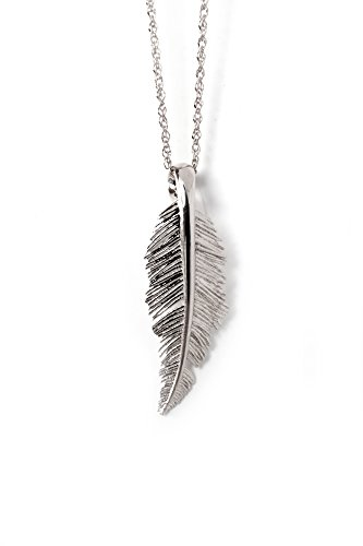 Sivan Lotan Jewelry Feather Pendant Necklace: Unique, Modern, Handmade 925 Sterling Silver Feather with 16.5 Inch Silver Chain Arrives in a Gift Box - Sterling Silver Quill