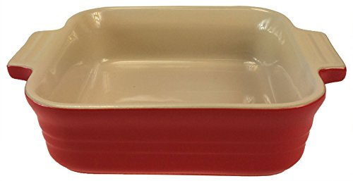 Le Creuset Poterie Stoneware Solid Chili Red Square Baking Dish, 5 (Poterie Dish)
