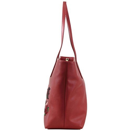 Love Moschino Women's Embroidered Rose Red Tote Handbag by Love Moschino (Image #1)