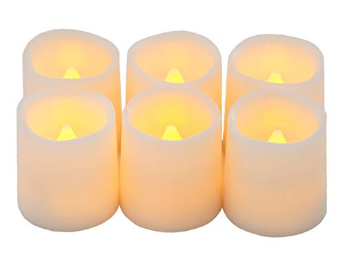 (Festival Delights Timer Flameless Candles Premium IC-Controlled Soft Flickering Votive Battery Operated Candles, 150+ Hours of Lighting, 5H Timer, Battery Included, Dia. 1.5