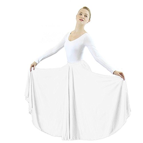 Danzcue Womens Long Full Circle Dance Skirt, White, - Polyester Dance